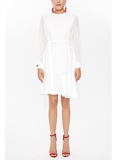 Societa Hakim yaka mini elbise 93035 Beyaz